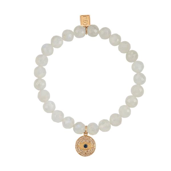 Sheryl Lowe Rainbow Moonstone Bracelet with Diamond Evil Eye Charm