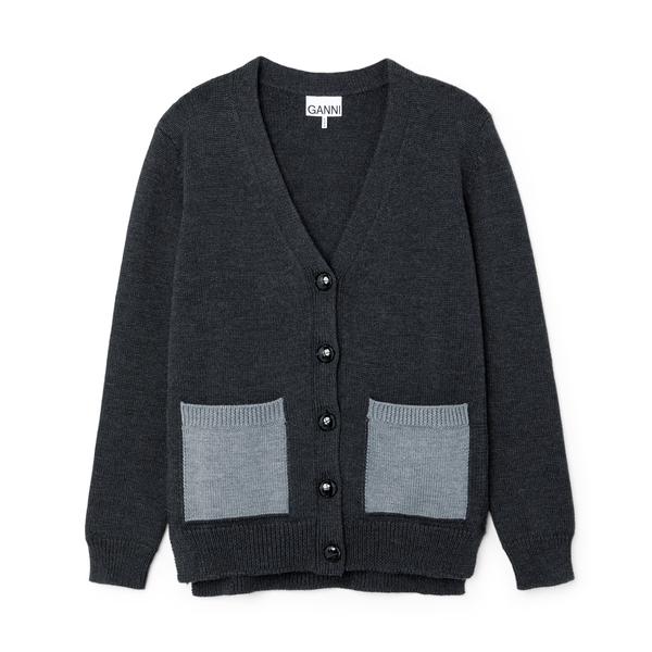 Ganni Wool Cardigan with Contrast Pockets