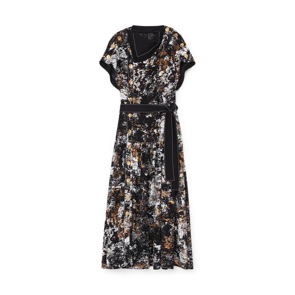 Proenza Schouler Foil-Printed Button-Front Dress