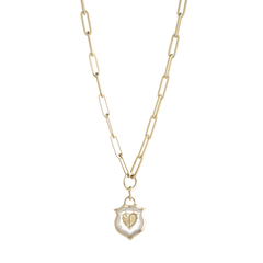 Small Crest Gemstone Heart Necklace