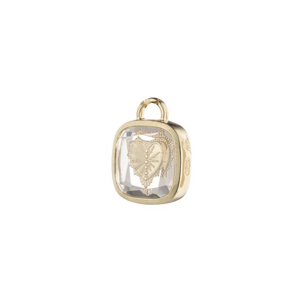 Foundrae Square Gemstone Heart Pendant