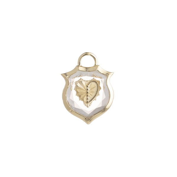 FOUNDRAE Small Crest Gemstone Heart Pendant