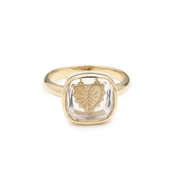 FOUNDRAE Sealed Gemstone Heart Ring