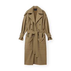 Crinkle Pleat Trench Coat