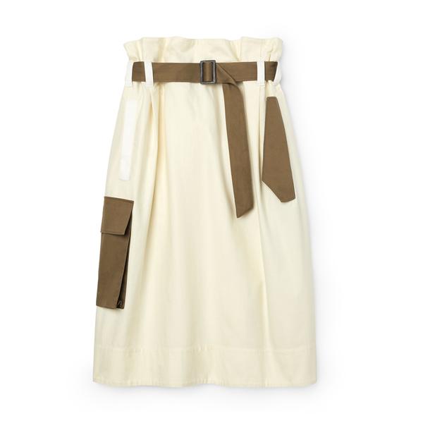 Tibi Cotton Slub Paper-Bag Skirt