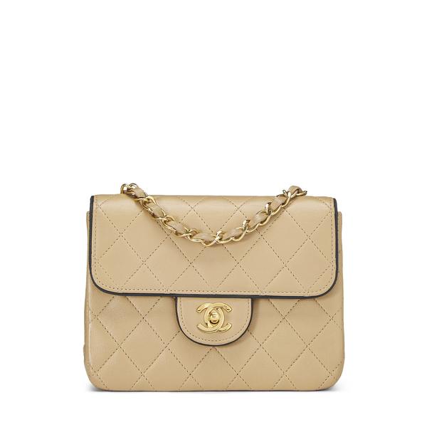 What Goes Around Comes Around Chanel Beige Half Flap Mini Bag