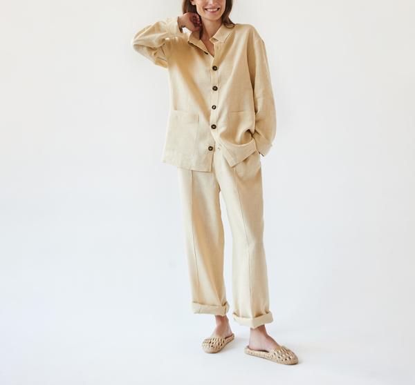SLEEPER Linen Pajama Set with Pants