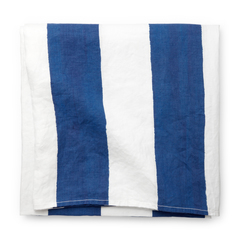 Blue-and-White-Striped Tablecloth