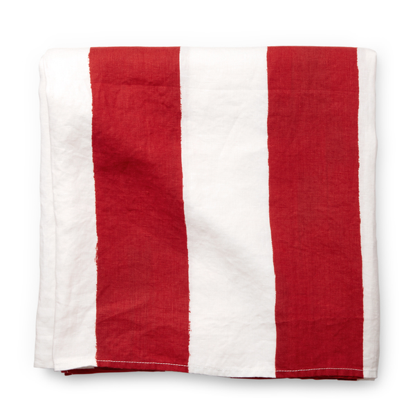 Summerill & Bishop  Red-and-White-Striped Tablecloth
