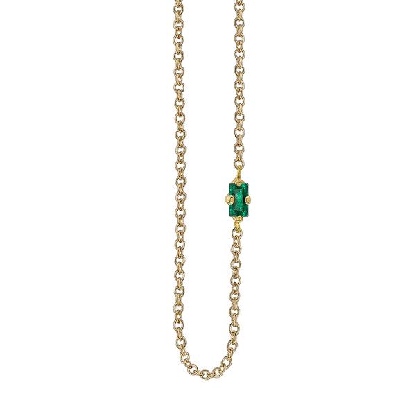 Lizzie Mandler Emerald Baguette Floating Necklace