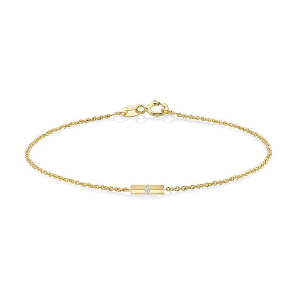 Lizzie Mandler Mini Bar Bracelet with Baguette Diamond
