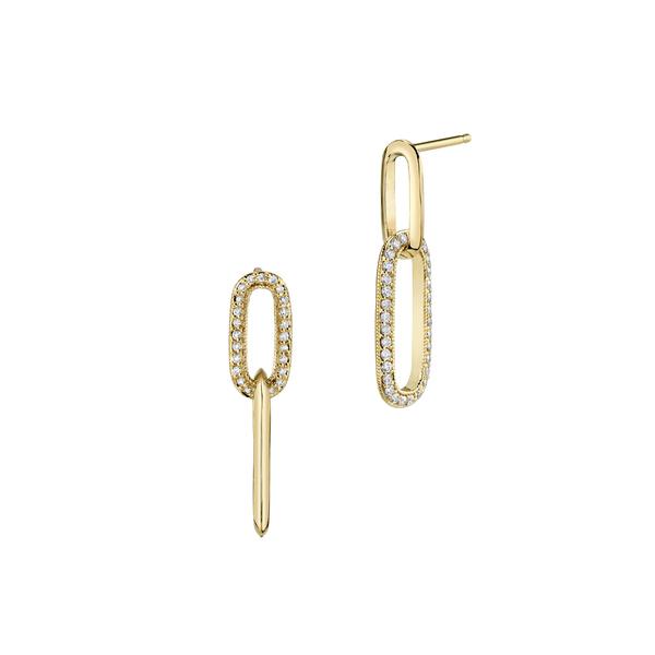 LIZZIE MANDLER Alternating Diamond Drop Earrings