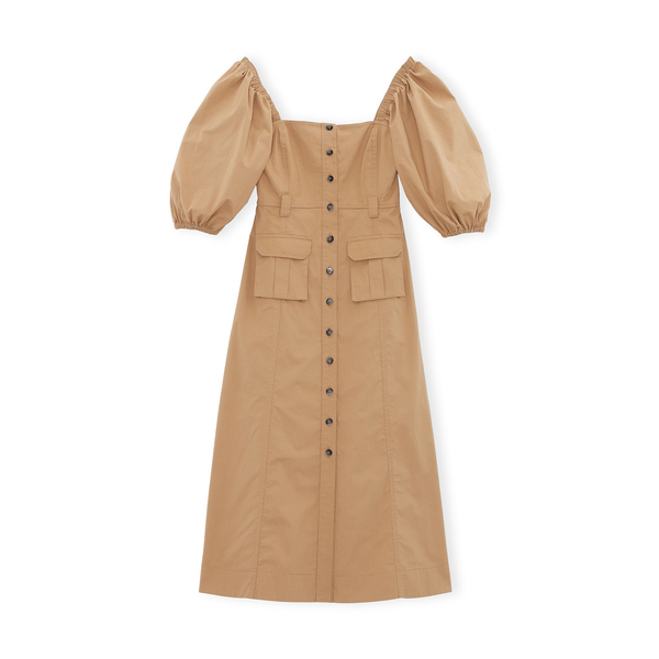 Ganni Chino Puff-Sleeve Dress