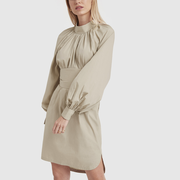 BASSIKE Gathered-Neck Belted Dress
