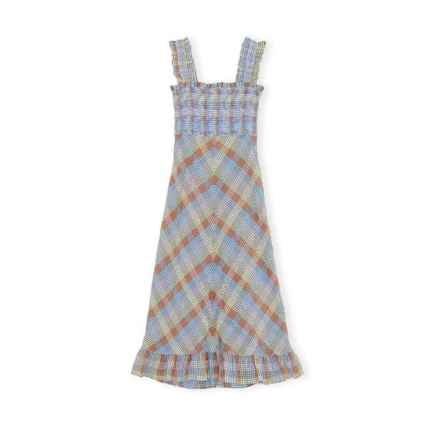 GANNI Checked Seersucker Dress