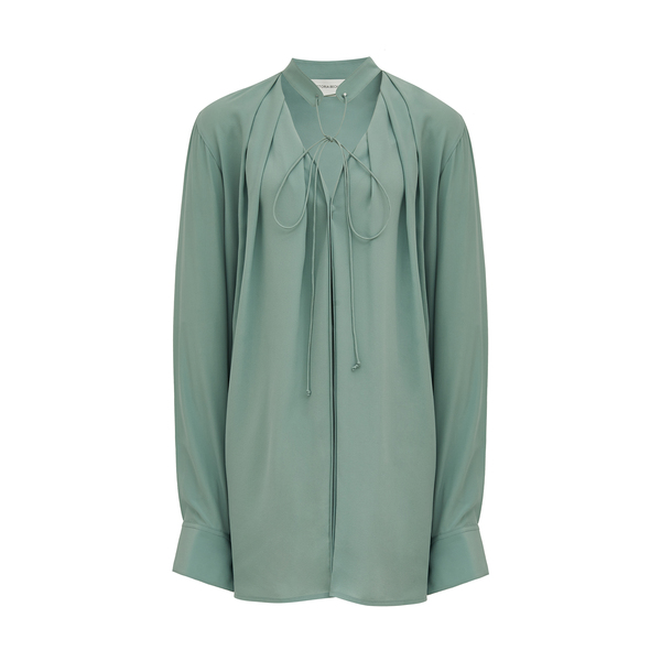 Victoria Beckham Long-Sleeve Silk Shirt