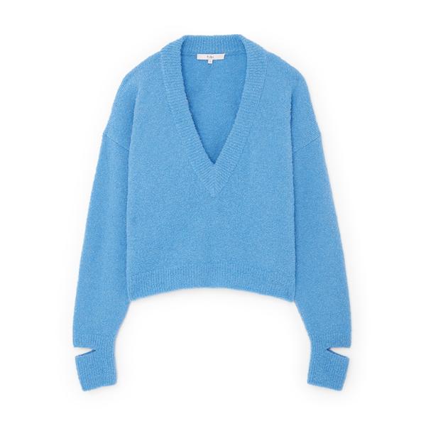 Tibi Slit-Cuff V-Neck Pullover