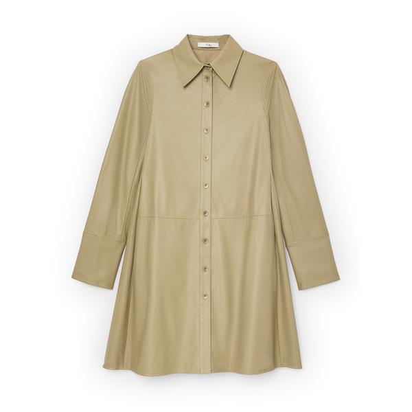 Tibi Faux-Leather Shirtdress