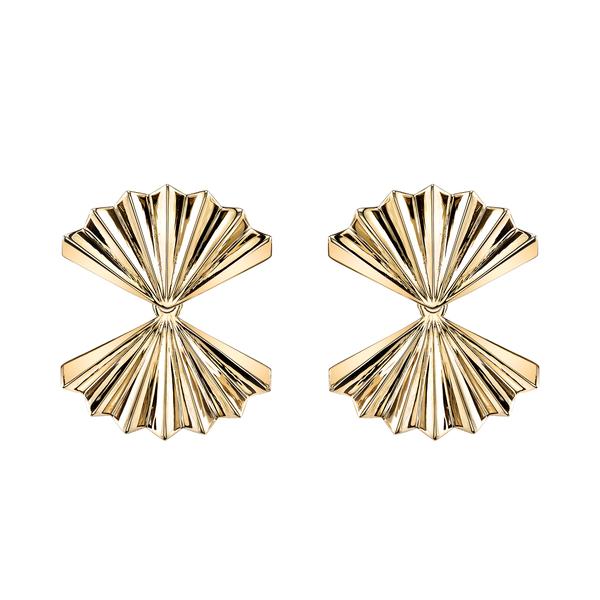 Anita Ko Double Fan Gold Earrings