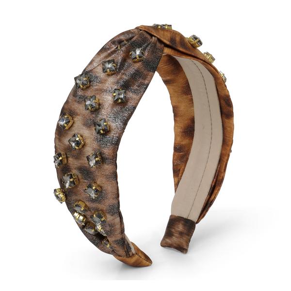 AUTUMN ADEIGBO Leopard Metallic Beaded Headband