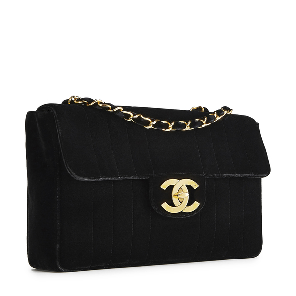 What Goes Around Comes Around Chanel Black Velvet Vertical Flap Jumbo