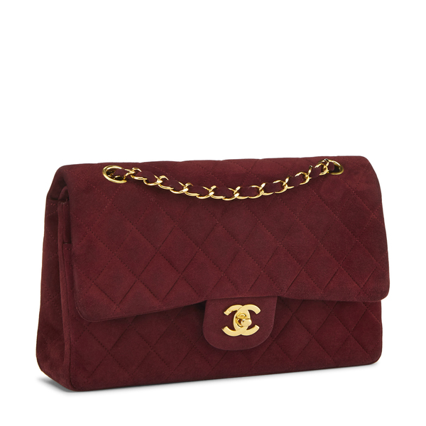 What Goes Around Comes Around Chanel Burgundy Suede 2.55 10""