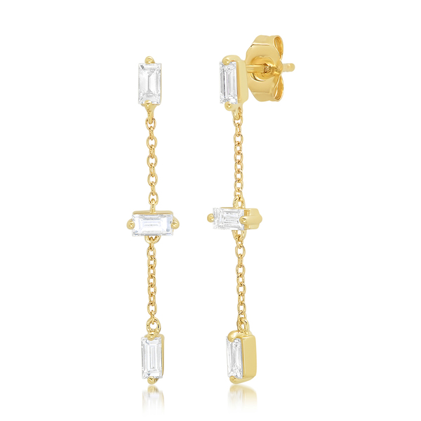 Eriness Baguette and Chain Drop Earrings