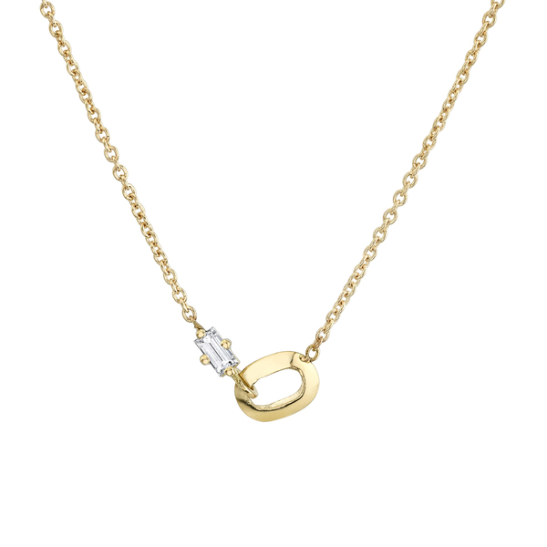 Lizzie Mandler XS Link and Diamond Baguette Necklace