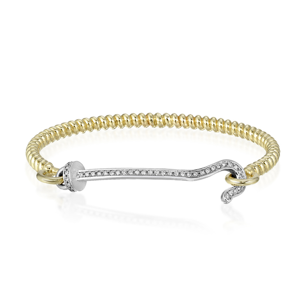 Nancy Newberg Twist Bangle with Diamond Hook