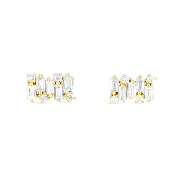 Suzanne Kalan Baguette Diamond Firework Earrings