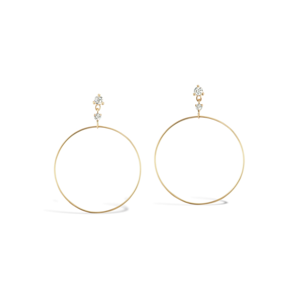 Sophie Ratner Double Diamond Drop Hoop