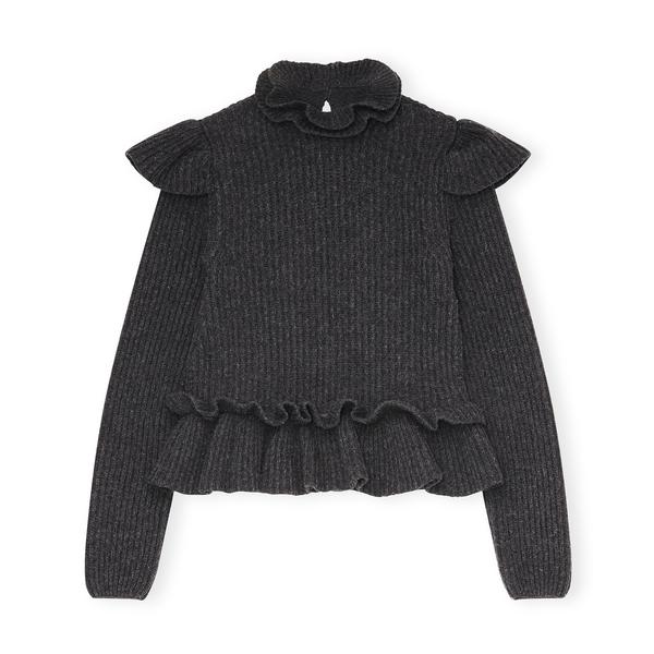 Ganni Rib-Knit Frill Sweater