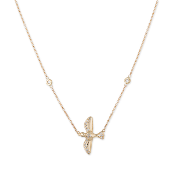 Jacquie Aiche Pavé Diamond Bird Necklace