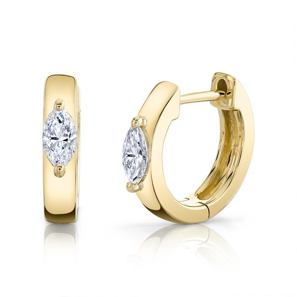 Anita Ko 18-Karat Yellow Gold Huggies with Marquis Diamonds