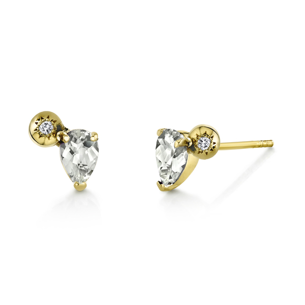 Sarah Hendler Starburst Studs with White Topaz