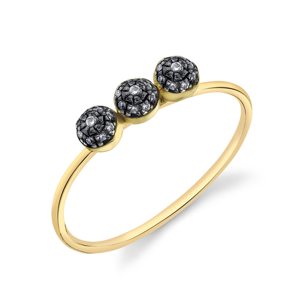 Sarah Hendler Triple Diamond Pavé Ball Stacking Ring