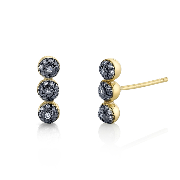 Sarah Hendler Triple Pavé Diamond Ball Studs