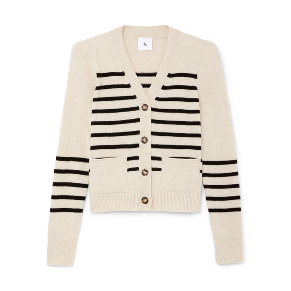 G. Label Kirstie Striped Puff-Sleeve Cardigan