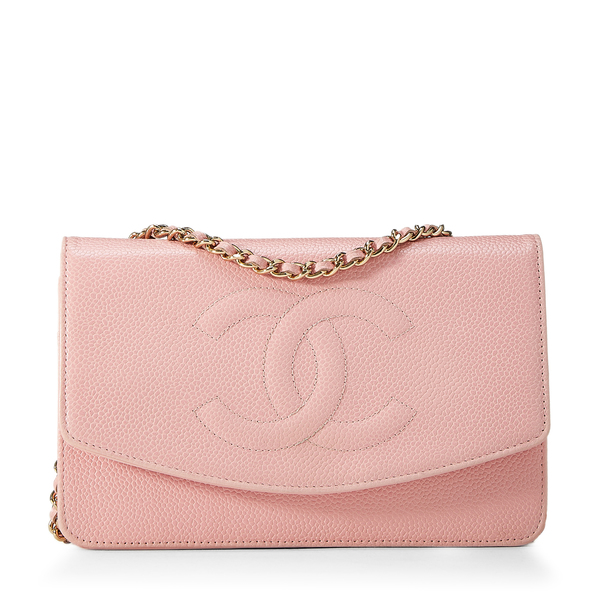 WHAT GOES AROUND COMES AROUND Chanel Pink Timeless Wallet on Chain
