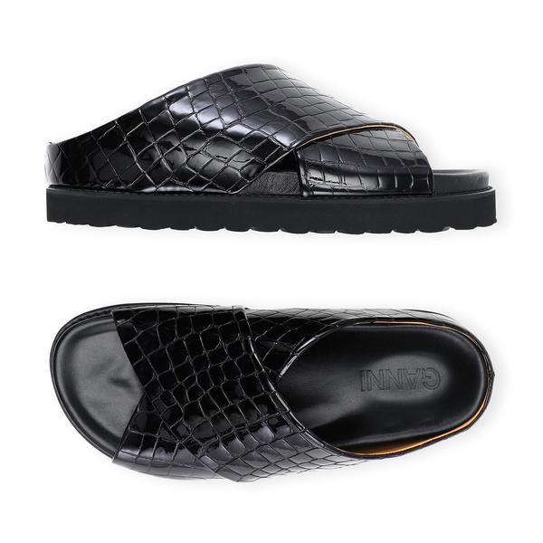 Ganni Belly Croc Crisscross Sandals