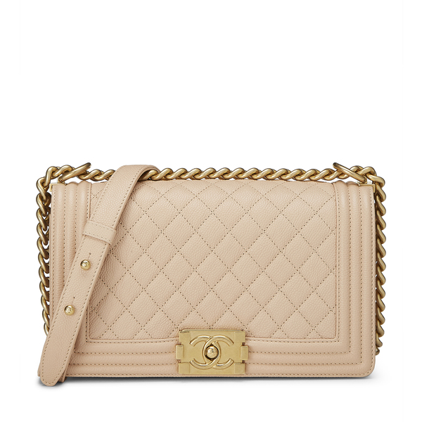 What Goes Around Comes Around Chanel Beige Medium Boy Bag