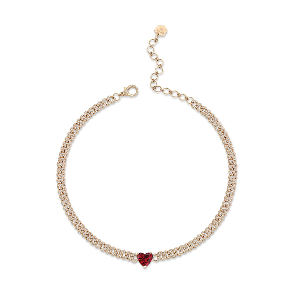 Shay Jewelry Mini Pavé Link Necklace with Ruby Heart
