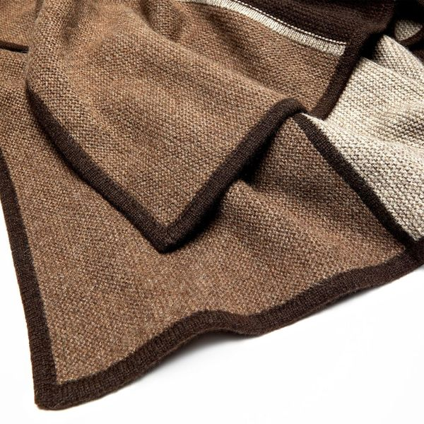 HANGAI Striped Three-Toned Purl Knit Yak Down Throw