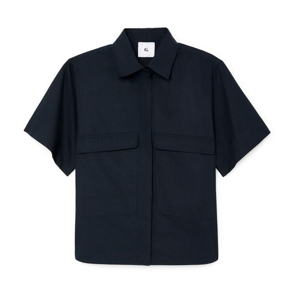 G. Label Blau Button-Up Top