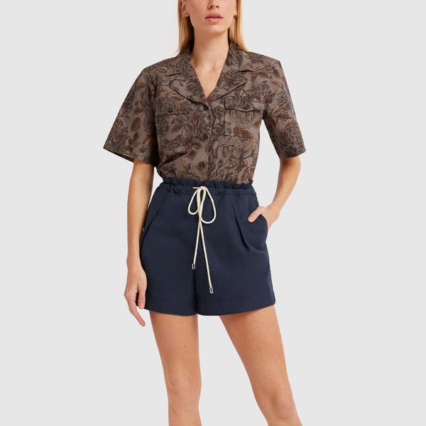 GANNI Printed Short-Sleeve Shirt