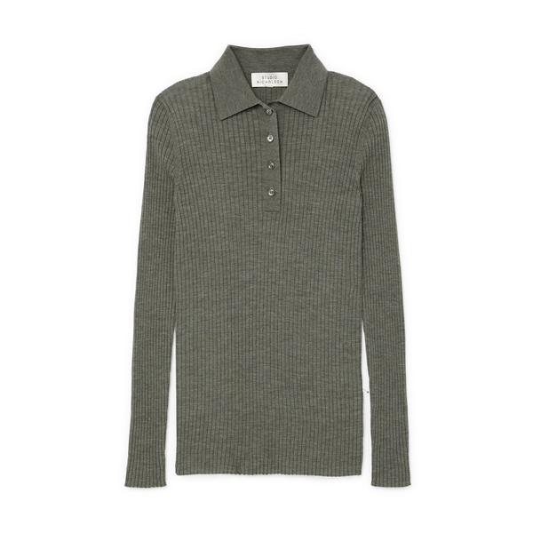 STUDIO NICHOLSON Long-Sleeve Polo Knit