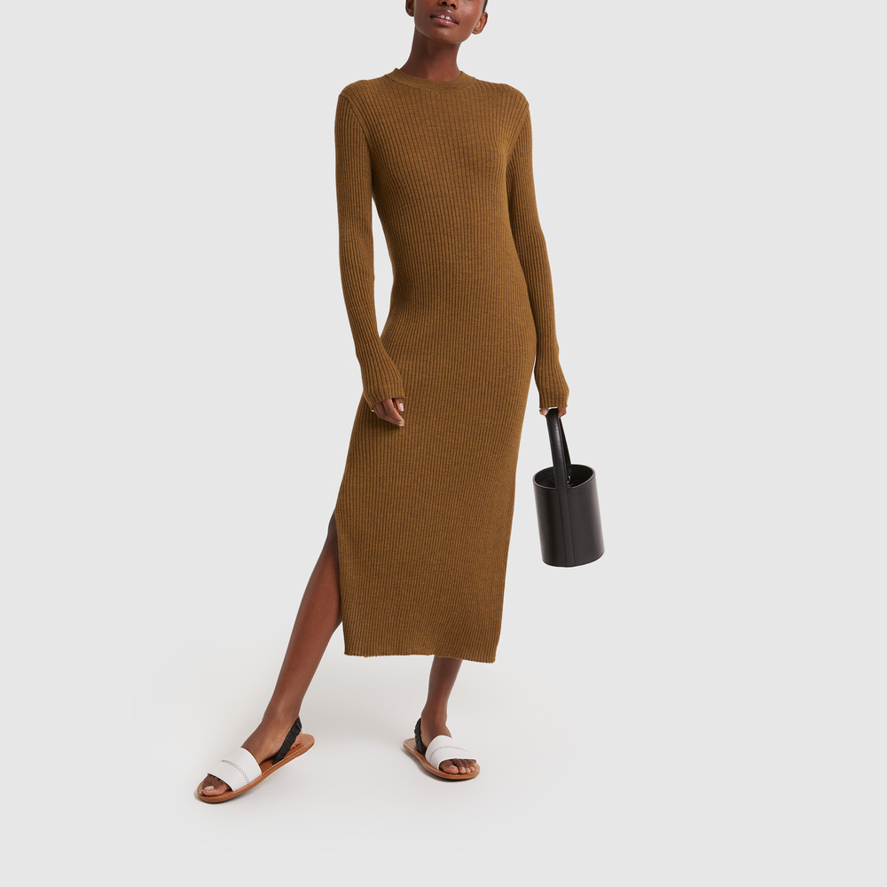 Studio Nicholson Ribbed Long Sleeve Dress In Tobacco