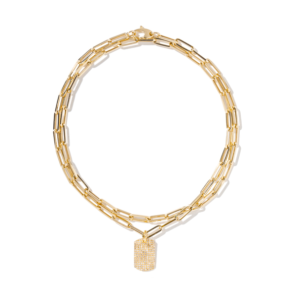 AS29 Chain-Link Necklace with Curved Pendant