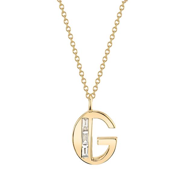 Lizzie Mandler Large Diamond Deco Initial Necklace