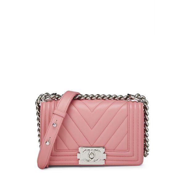 What Goes Around Comes Around Chanel Pink Lambskin Chevron Boy Small